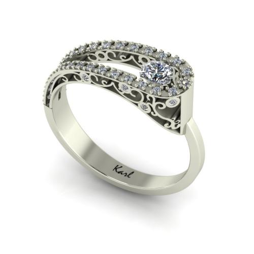Shaped baroque pattern diamond ring